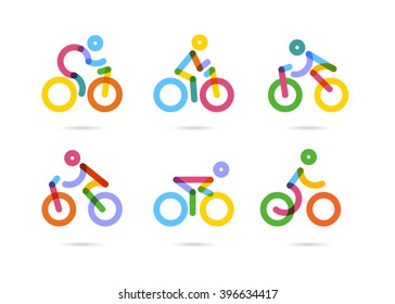 Colorful cycling and bicycles icons. vector illustration