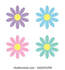 Colorful daisy chamomile icon set. Cute flower plant collection. Cute cartoon funny decoration element. Love card. Camomile icon. Growing concept.