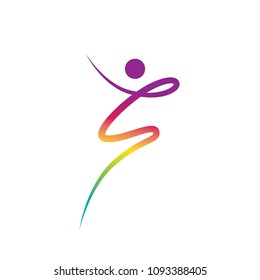 colorful dancing abstract person, logo element