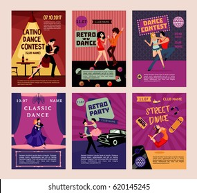 Colorful dancing people posters with dancers at different places in various styles vector illustration