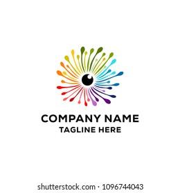 Colorful dandelion logo design inspiration, dandelion eye logo design illustration, dandelion lense eye vector collection, rainbow logo design isolated on white background