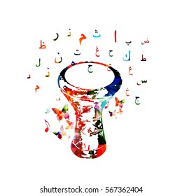 Colorful darbuka with arabic islamic calligraphy symbols isolated. Music instrument background vector illustration. Drums design for poster, brochure, invitation, banner, concert and music festival