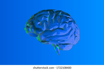 Colorful dark blue low poly human brain and wireframe vector illustration on blank purple blue background