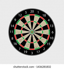 Colorful Dartboard - Textured Vector Illustration - Isolated On Transparent Background