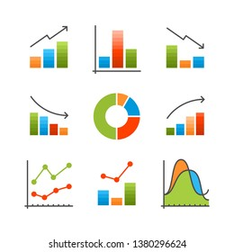 Colorful data analysis, chart, diagram flat vector infographics illustration for web and presentaion
