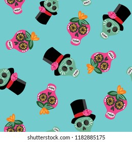 Colorful Day of the Dead sugar skulls- seamless vector repeat pattern, aqua background, Quirky, modern and fun. Dia de los Muertos, fiestas, invitations, banners, posters, textiles, wallpaper, wrap.