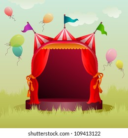 colorful, decorated circus tent on a meadow with balloons
