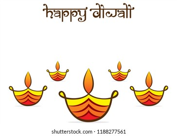 colorful decorated diya for Happy Diwali festival of India poster design