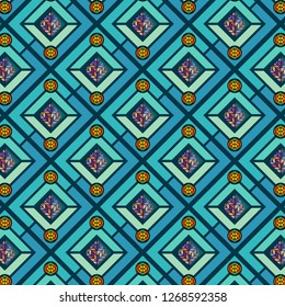 colorful decorated repeating pattern with bright circles & mosaic decoration for fabric, textile, wallpaper, backgrounds, backdrops, surface design templates and stationary. pattern swatch at eps.