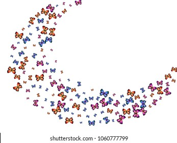 Colorful decorative butterfly silhouette kite backdrop on white. Nature butterfly hover theme vector in pink, violet, red, blue and purple colors. Repeating insect soar artwork wrapping paper.