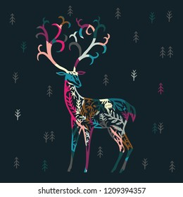 Colorful Decorative  Deer in the Forest. Print Design.