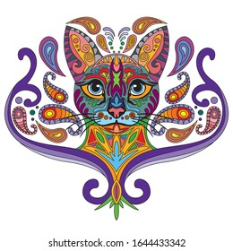 Colorful decorative doodle ornamental portrait of cat.  Decorative abstract vector illustration in different colors isolated on white background. Stock illustration for design and tattoo.