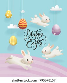 Colorful decorative eggs hanging on strings, clouds, cute white rabbits and Happy Easter hand written inscription. Vector illustration for greeting card, holiday banner, poster, party invitation