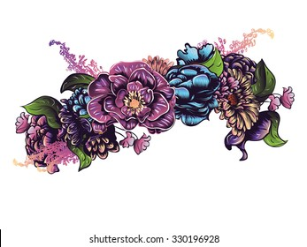 Colorful decorative flower crown, garland, floral illustration.