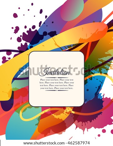 Colorful Decorative Invitation Card Free Shapes Stock Vector