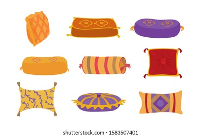 Colorful decorative pillows isolated on white. Cushions for arab or indian interior design. Vector set in cartoon style.