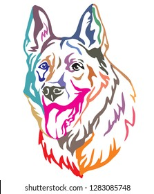 Colorful decorative portrait of Dog German Shepherd, vector illustration in different colors isolated on white background. Image for design and tattoo.