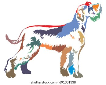 Colorful decorative portrait of standing in profile Giant Schnauzer, vector isolated illustration on white background