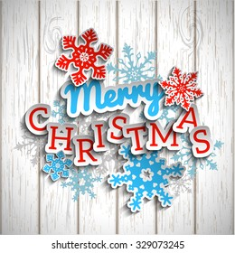 Colorful decorative text Merry Christmas with 3d effect, on white wooden background, vector illustration, eps 10 with transparency and gradient meshes