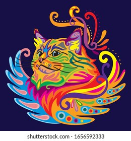 Colorful decorative zentangle doodle ornamental portrait of ragdoll cat. Decorative abstract vector illustration in different colors isolated on dark blue background. Stock illustration.
