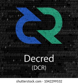 Colorful decred cryptocurrency symbol isolated on digital background