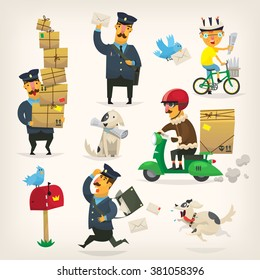 Colorful delivery service workers and postmen doing their job