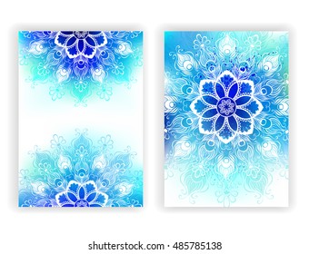 Colorful design with contoured mandala of peacock feathers on shaded blue and green painted watercolor background.