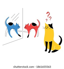 Colorful design illustration of the one angry cat who looks at his reflection on the mirror another cat have a question and misunderstanding