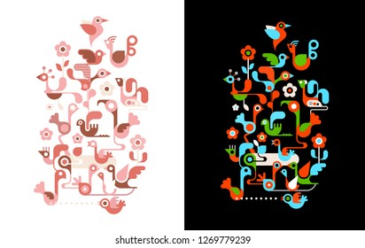 Colorful design isolated on a black and on a white background Birds vector illustrations.