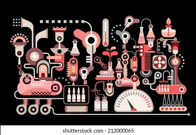 Colorful design isolated on a black background Research pharmaceutical laboratory equipment conceptual vector illustration. Medical and Healthcare conceptual graphic art.