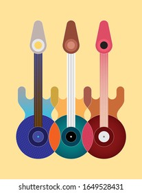 Colorful design isolated on an yellow background Three Electric Guitars abstract geometric style vector illustration. Music poster design.