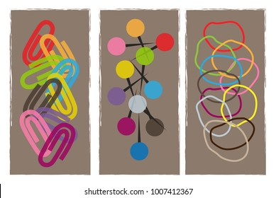 Colorful design of office paper clips, pins and rubber bands. Eps10