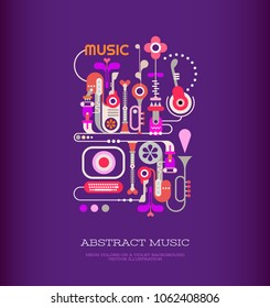 Colorful design on a dark violet background Abstract Music vector illustration. Musical festival poster template with place for some text.