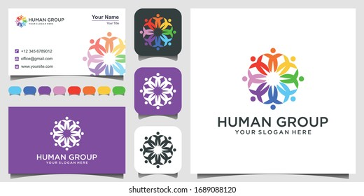 Colorful design of people symbols working as team & cooperating. This vector logo template can represent unity and solidarity in group or team of people. 3 favicons and business card Premium Vector.