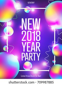Colorful design template for New Year Party. Creative banner, flyer for a night party. Neon lights, lines, gradients, glowing, bokeh. Vector.