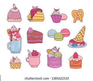 Colorful dessert set. Milkshake,pancakes, macarons and ice cream - cartoon icons for menu,stickers and decoration.Sweet clip art.Vector