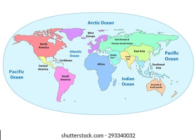 Colorful detail world map continent name stock vector 293340032 colorful detail world map with continent name and ocean name isolated on white background gumiabroncs Image collections