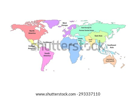 Colorful Detail World Map Regions Continent Stock Vector Royalty