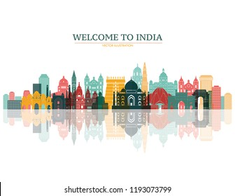 Vector Illustration - India tourism travel famous landmark symbols and  indian culture vector tourist attractions. Stock Clip Art gg98947359 -  GoGraph