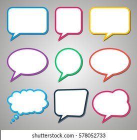 Colorful dialog question thought speech bubbles with shadows