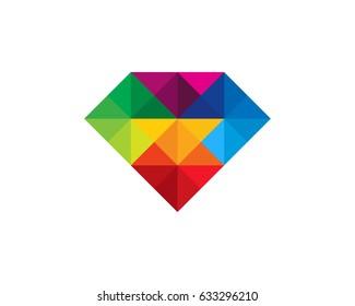 Colorful Diamond Icon Logo Design Element