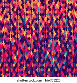 Colorful diamond tiles seamless vector pattern.