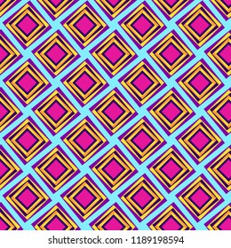 colorful diamonds repeating pattern in pink, golden yellow and purple with 3D appearance for textile, fabric, backdrops, backgrounds, templates and creative surface designs. pattern swatch at eps.file