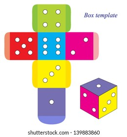 Colorful dice, box template. Vector illustration.