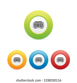 Colorful Digital Alarm Clock Round Icons