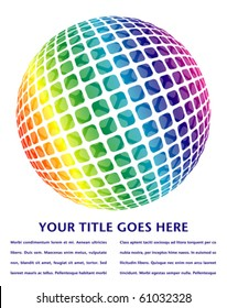 Colorful digital globe design with copy space.