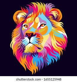 Colorful digital illustration, lion, simple design. - Vector.