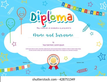 Colorful diploma certificate for kids and children on bright blue background with kids elements