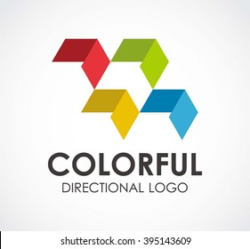 Colorful of directional paper abstract vector and logo design or template arrow rainbow business icon of company identity symbol concept