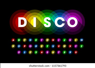 Colorful disco style font design, alphabet letters and numbers vector illustration